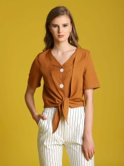 Big Buttons Front Knot Crop Top