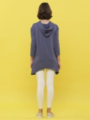 Long Sleeveless Asymetric Hoodie Top