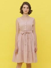 Small Gingham Waist-Tie Sleeless Dress