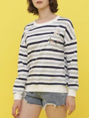 Pocket-Rabbit Stripes Long Sleeveless Sweat Top