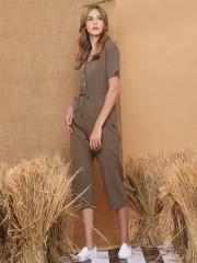 Sleeveless Drawstring Button-Up Jumpsuit