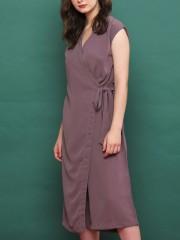 Wrap Side-Tie Sleeveless Long Dress