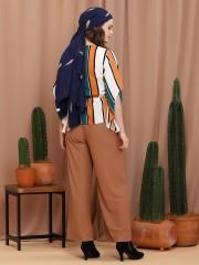 Stripes Flare Sleeves V Neck Top