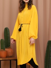 Button-Up Long Sleeve Maxi Dress With String Belt