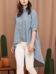 3/4 Sleevel Button-Up Mermaid Shirt