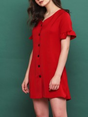 Short Ruffle Sleeves Button Up Dress