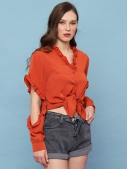Ruffle Sleeve One Side Reveal Elbow Shirt