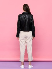 Synthetuc Leather Zipped Up Jacket