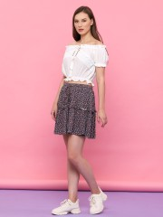 Youth Flower Print Mini Skirt