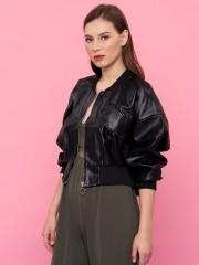 Youth Zipped Bomber Synthetic Leather Jacket