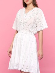 Laser Cut Embroidered Dress