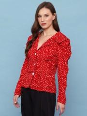 Runched Sleeve Polka Shirt