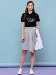 Half Pleated 2 Tones Flare Skirt