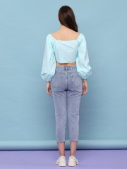 Front Tied Puff Outer Top