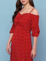 Dotty Print Slit Dress