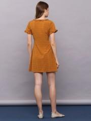 Ruffled V-Neck Short Sleeves Dress