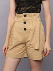 Button Up Short With Side Belt