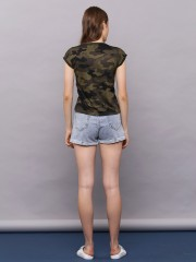 Best Buy Semi Crop Army Tee