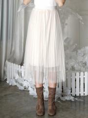 Long Flare Tulle Skirt