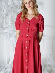 V - Neck Button Up Dress