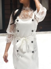 2 Pieces Set Lace Inner And Pinafore Dress