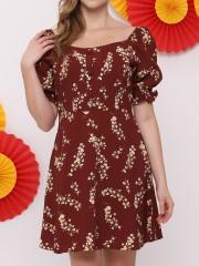FC Flower Print Square Neck Dress