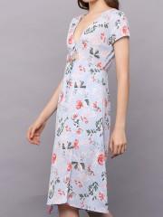 PT Flower Print Front Tied Summer Dres