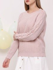 Sleeves Cross Knitted Sweater