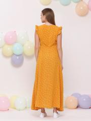 Mini Ruffles Sleeve Heart Print Long Dress