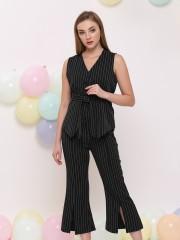 2 pcs set stripe vest and pants