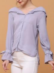 Semi Off Shoulder Shirt w/h Drawstring Sleeves