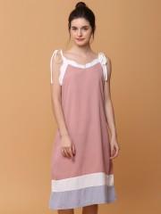 Shell Neck Outline Midi Dress
