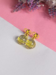 FC Tabebui Press Yellow Flower Ribbon Earrings