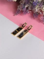 GGW Tiger Print Rectangle Earrings