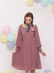 Square Off Shoulder Neckline Dress