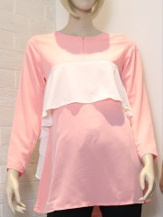 Sides Frill Long Sleeves Long Top