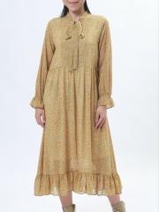 D-Sl Leb Tied Neck Flower Print Midi Dress