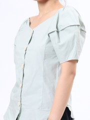 Wide Collar Button Up Short Sleeves Top