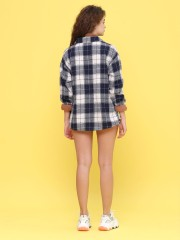 one side pocket checkered shirt