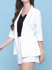 2 pcs sets stripes blazer and short