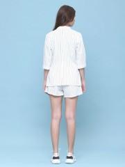 2 pcs sets stripes blazer and short