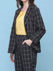 2 pcs grid lines blazer and pants