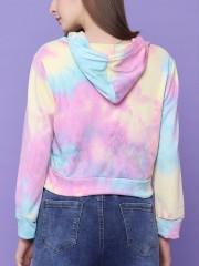 Tie  Dye Semi Crop Hoodie Zip Up Sweater
