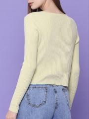 V-Neck Knitted Crop Top