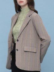 Checkered Blazer With Inner fab