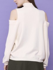Cold Shoulder High Neck Knitted Top