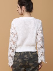 Sleeves Ambroidered Knitted Crop Sweater