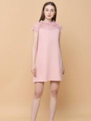 Lace Neck Line Mini Dress