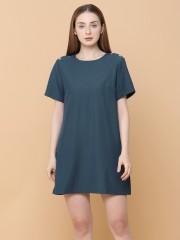 Shoulder Buttom Mini Dress