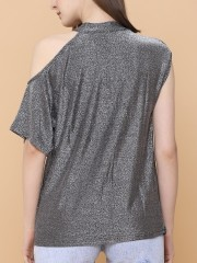 One Side Cold Shoulder Glitter Top
